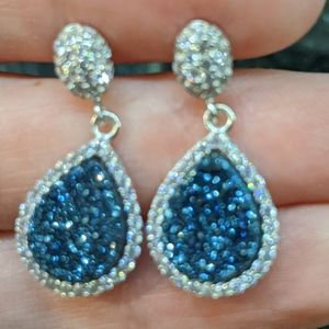 Beautiful Blue Druzy and Crystal Earrings